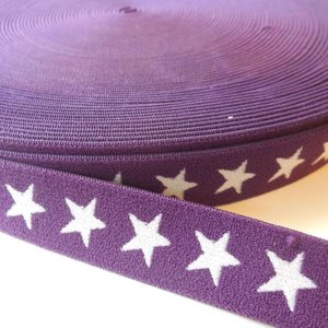 Elastische tailleband - paars met sterren (2,00 cm)