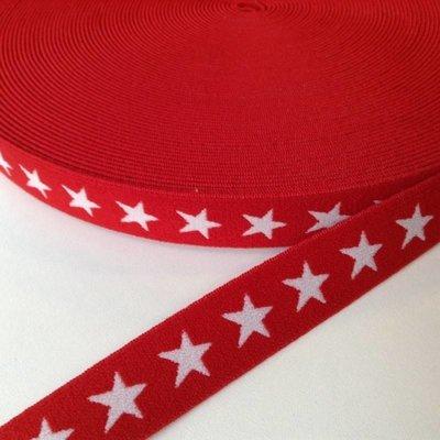 Elastische tailleband - rood met sterren (2,00 cm)