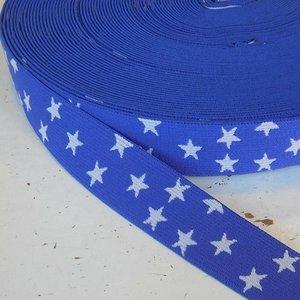 Elastische tailleband - blauw met sterren (2.50 cm)