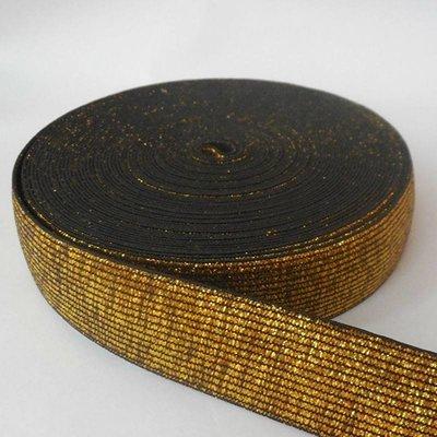 Elastische tailleband - glitter goud & zwart  (2,50 cm breed)