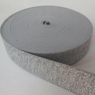 Elastische tailleband - glitter zilver  (2,50 cm breed)