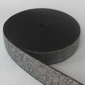 Elastische tailleband - glitter zilver & zwart  (2,50 cm breed)