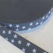 Elastische tailleband - grijs met sterren (2.50 cm)