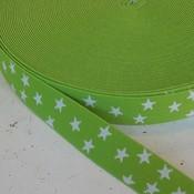 Elastische tailleband - lichtgroen met sterren (2.50 cm)