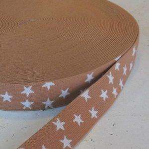 Elastische tailleband - mokka met sterren (2.50 cm)