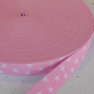 Elastische tailleband - roze met sterren (2.50 cm)