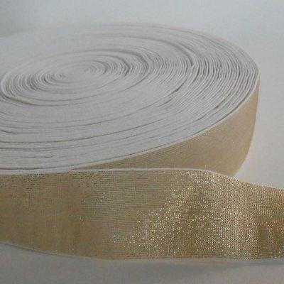 Elastische tailleband - glitter goud & wit  (4 cm breed)