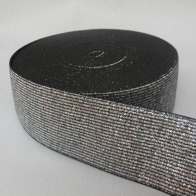 Elastische tailleband - glitter zilver & zwart (4 cm breed)