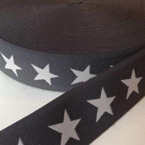 Elastische tailleband - grijs met sterren (3,80 cm)