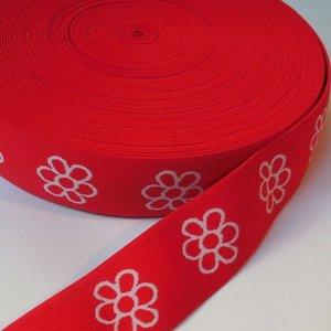 Elastische tailleband - rood met witte bloemen (3,80 cm)