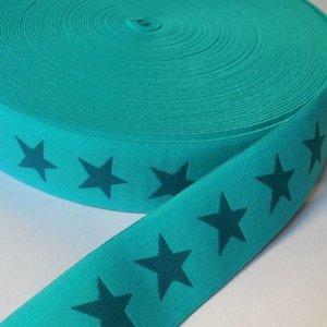 Elastische tailleband - turkoois met petrol sterren (3,80 cm)