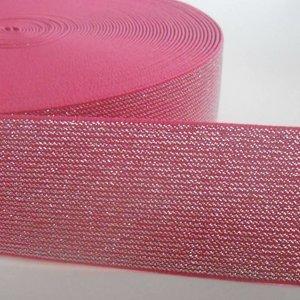 Elastische tailleband -  fuchsia & zilver glitter (5 cm breed)