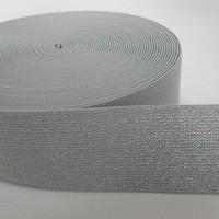 Elastische tailleband - grijs & zilver glitter (5 cm breed)