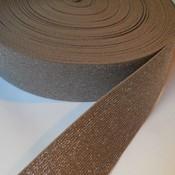 Elastische tailleband - taupe & zilver glitter (5cm)