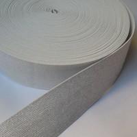 Elastische tailleband - wit & zilver glitter (5cm breed)
