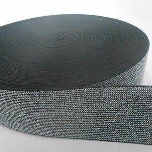 Elastische tailleband - zwart & zilver glitter (5 cm breed)