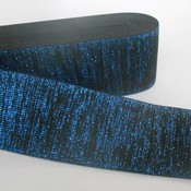 Elastische tailleband - glitter blauw & zwart (6 cm breed)