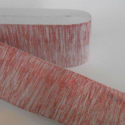 Elastische tailleband - glitter rood & wit (6 cm breed)
