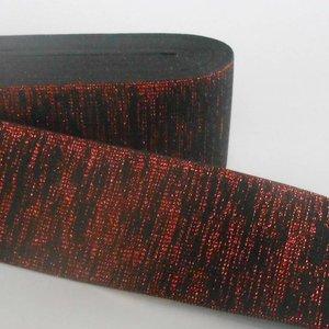 Elastische tailleband - glitter rood & zwart (6 cm breed)