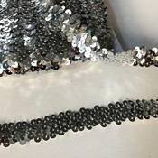 Elastische paillettenband zilver