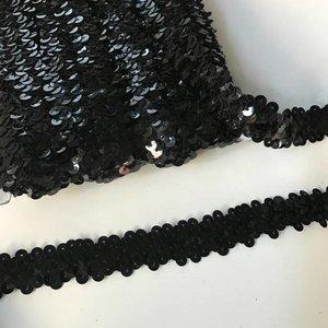 Elastische paillettenband zwart
