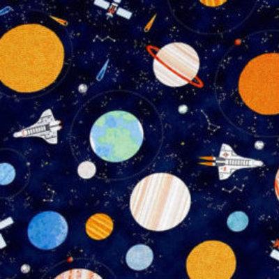 Timeless Treasures Katoen - Timeless Treasures - Space Navy