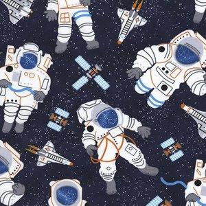 Timeless Treasures Katoen - Timeless Treasures - Space Astronaut Navy
