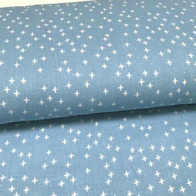 Double Gauze - Blauw met kruisjes