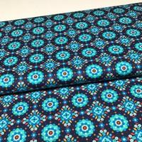 Katoen - Blauwe bloemen