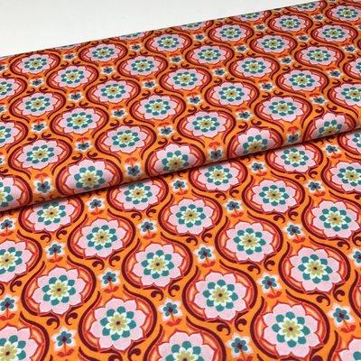 Katoen - Hilde - Oranje retrobloemen