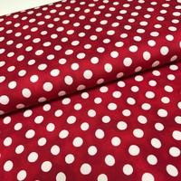 Katoen - Emilie rood met witte bollen