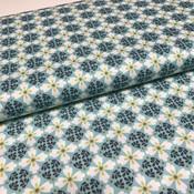 Katoen - Emilie blauw/groene bloemen