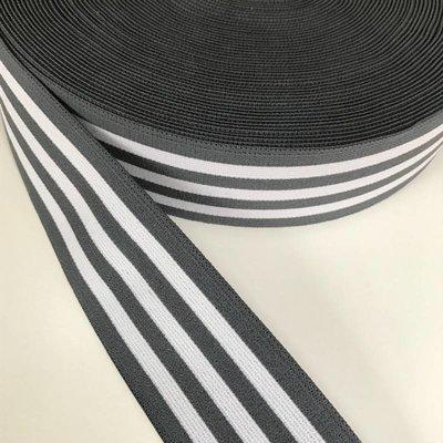 Elastische tailleband - grijs met witte strepen (3,80 cm)