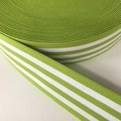 Elastische tailleband - groen met witte strepen (3,80 cm)