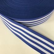 Elastische tailleband - koningsblauw met witte strepen (3,80 cm)
