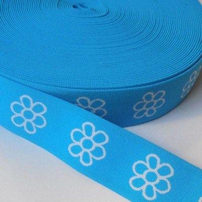 Elastische tailleband - lichtblauw met witte bloemen (3,80 cm)