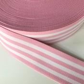 Elastische tailleband - lichtroze met witte strepen (3,80 cm)