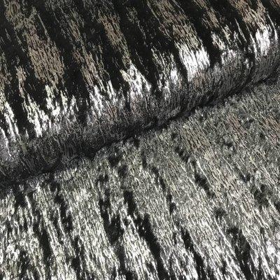 Zwarte imitatiebont met zilveren glitter