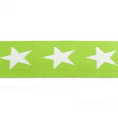 Elastische tailleband - groen met sterren (3,80 cm)