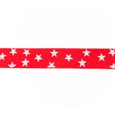 Elastische tailleband - rood met sterren (2.50 cm)