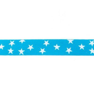 Elastische tailleband - turkoois met sterren (2.50 cm)