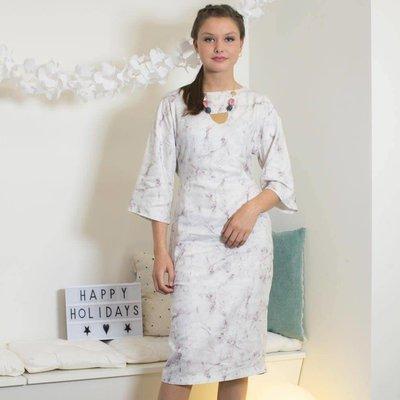 Viscose met marmerprint - Monica jurk (La Maison Victor)