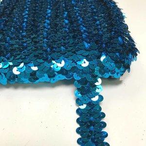 Elastische paillettenband blauw