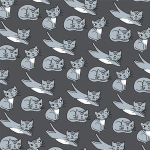 About Blue Fabrics French Terry - Eva Mouton - Cats