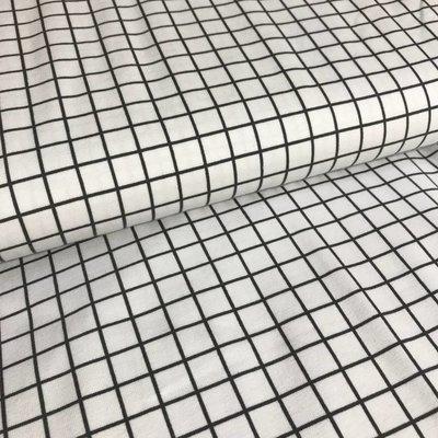 Tricot - Grid wit/antraciet