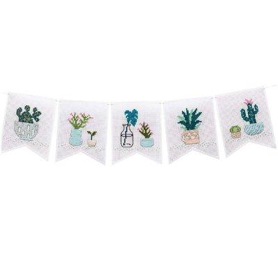Borduurpakket - Vlaggenlijn met cactussen