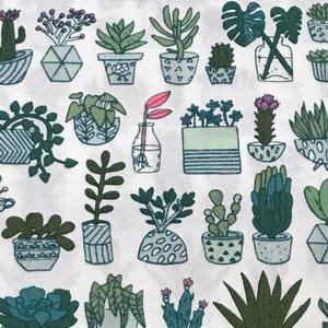Katoen - Wit Cactus Neon