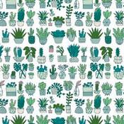 Rico Design - Gelamineerd Katoen - Wit Cactus Neon