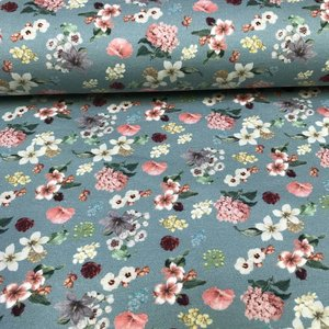 Megan Blue Fabrics Tricot - Garden Flowers