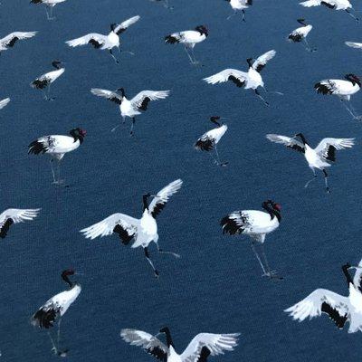 Megan Blue Fabrics - Tricot - Kraanvogels